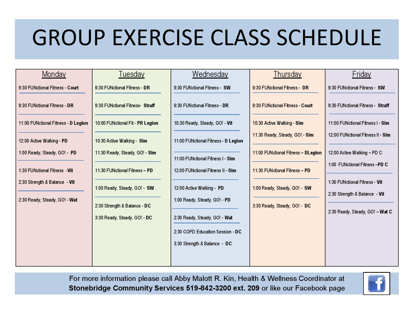 GROUP EXERCISE CLASS SCHEDULE PDF